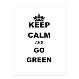 KEEP CALM AND GO GREEN POSTCARD