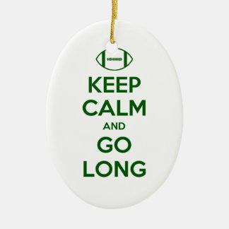 KEEP CALM AND GO LONG - football/sports/nfl Ceramic Ornament