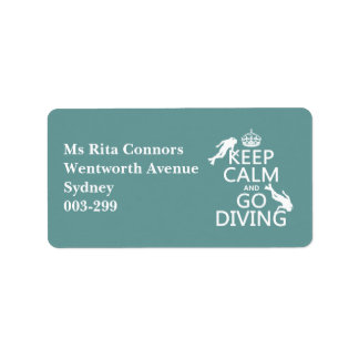 Keep Calm and Go (scuba) Diving (all colors) Address Label