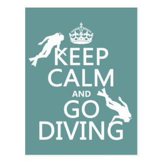 Keep Calm and Go (scuba) Diving (all colors) Postcard