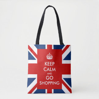 Keep Calm and Go Shopping British UK Flag Tote Bag