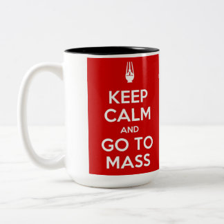 Keep Calm and Go to Mass Two-Tone Coffee Mug