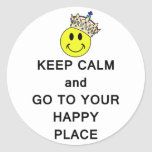 Keep Calm and Go to Your Happy Place Smiley Crown Round Sticker