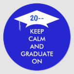 Keep calm and graduate in royal blue and white sticker