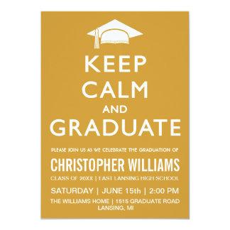 Keep Calm and Graduate Invitation - Gold