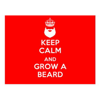 Keep Calm and Grow A Beard Postcard