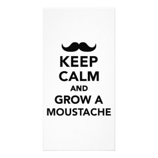 Keep calm and grow a Moustache Personalized Photo Card