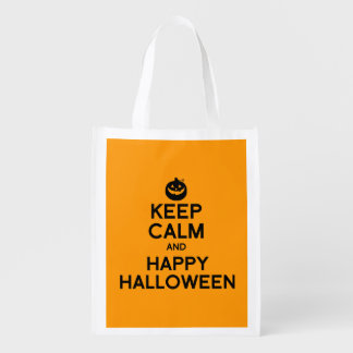 KEEP CALM AND HAPPY HALLOWEEN - png Grocery Bags