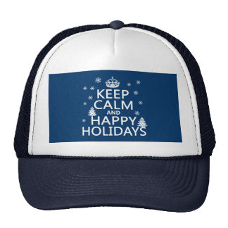 Keep Calm and Happy Holidays Hats