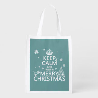 Keep Calm and Have A Merry Christmas Reusable Grocery Bag