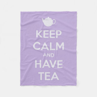 Keep Calm and Have Tea Lavender and White Fleece Blanket