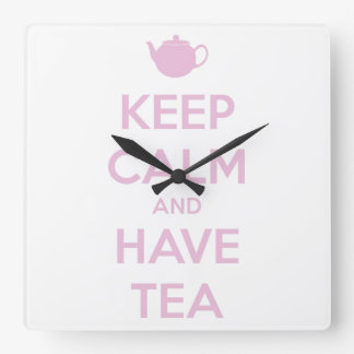Keep Calm and Have Tea Pink on White Square Wall Clock