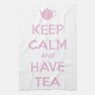 Keep Calm and Have Tea Pink on White Tea Towel