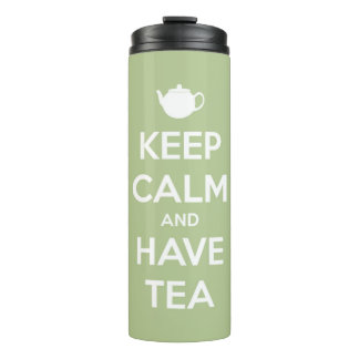 Keep Calm and Have Tea Sage and White Personalized Thermal Tumbler