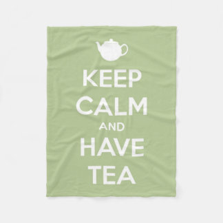 Keep Calm and Have Tea Sage Green and White Fleece Blanket