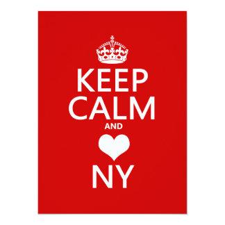 Keep Calm and Heart New York (customisable colors) 14 Cm X 19 Cm Invitation Card