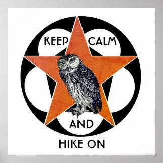 Keep Calm And Hike On Owl Poster