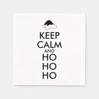 Keep Calm and Ho Ho Ho Christmas Napkins Santa Hat Disposable Napkins