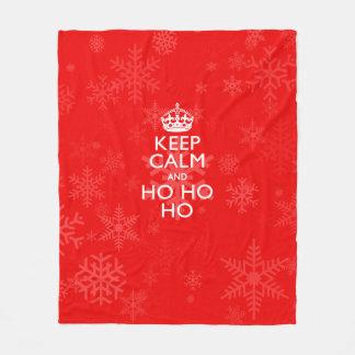Keep Calm And Ho Ho Ho on Snowflakes Fleece Blanket
