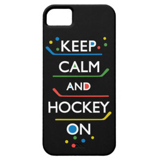 Keep Calm and Hockey On - black iPhone 5 Covers