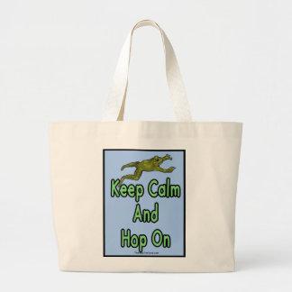 keep calm and hop on tote bag