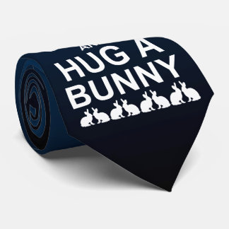Keep Calm and Hug a Bunny Tie (Blue/Black)