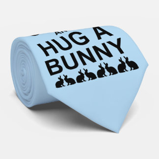 Keep Calm and Hug a Bunny Tie (Light Blue)