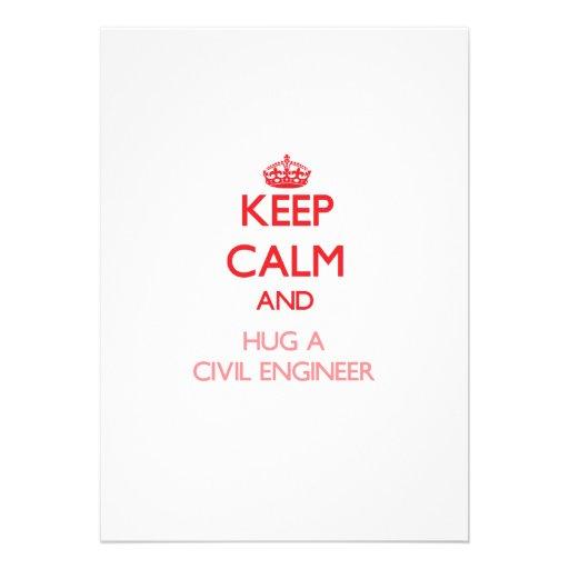 Keep Calm and Hug a Civil Engineer Personalized Invitation