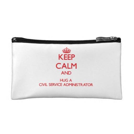 Keep Calm and Hug a Civil Service Administrator Makeup Bags