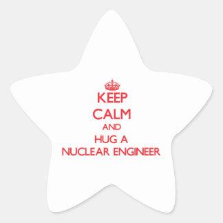 Keep Calm and Hug a Nuclear Engineer Star Sticker