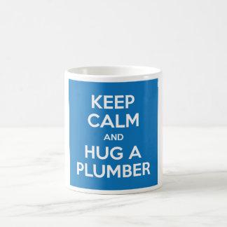Keep Calm and Hug A Plumber Mug (White on Blue)