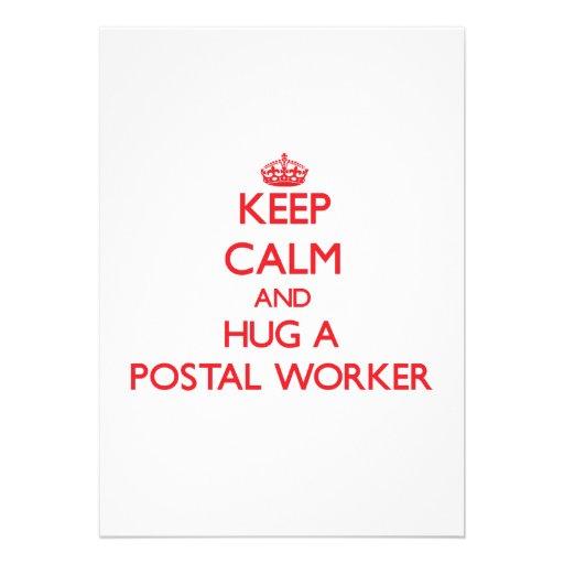 Keep Calm and Hug a Postal Worker Custom Announcements