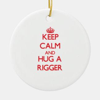 Keep Calm and Hug a Rigger Round Ceramic Decoration