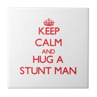 Keep Calm and Hug a Stunt Man Ceramic Tile