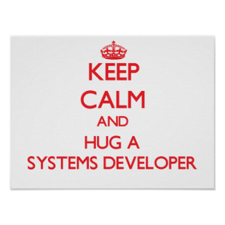 Keep Calm and Hug a Systems Developer Posters