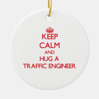Keep Calm and Hug a Traffic Engineer Ceramic Ornament