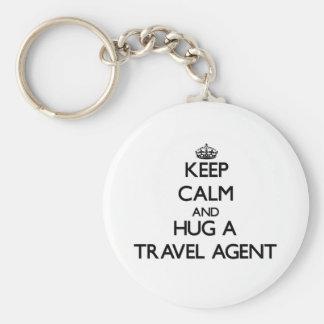 Keep Calm and Hug a Travel Agent Keychain