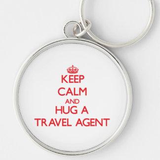 Keep Calm and Hug a Travel Agent Key Chain