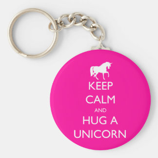 Keep Calm and Hug a Unicorn Key Ring