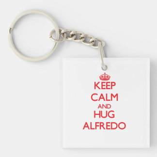 Keep Calm and HUG Alfredo Double-Sided Square Acrylic Key Ring