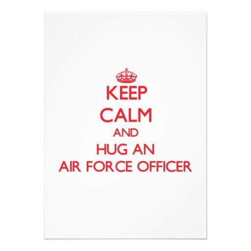 Keep Calm and Hug an Air Force Officer Custom Announcement