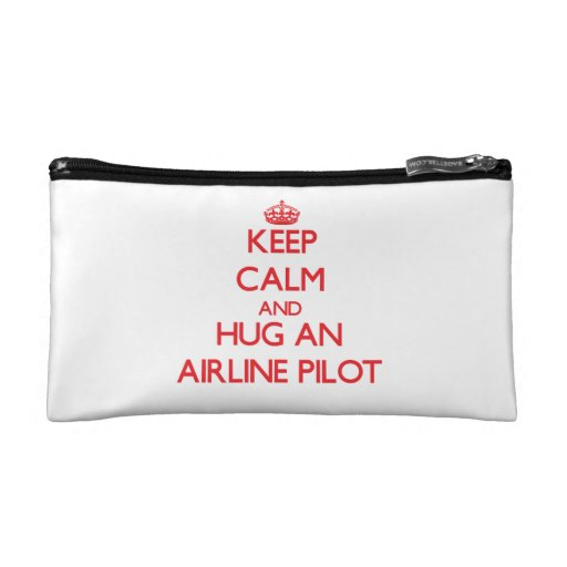 Keep Calm and Hug an Airline Cosmetics Bags