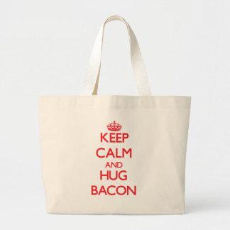 Keep calm and Hug Bacon Tote Bags