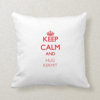 Keep Calm and HUG Kermit Throw Pillow