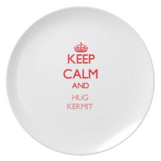Keep Calm and HUG Kermit Dinner Plates