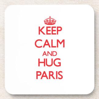 Keep Calm and Hug Paris Beverage Coasters