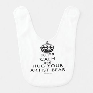 Keep Calm and Hug Your Artist Bear Bib