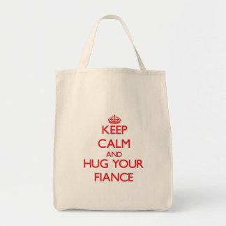 Keep Calm and HUG your Fiance Canvas Bags