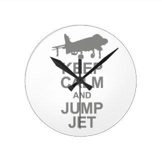 Keep Calm and Jump Jet Round Clock