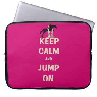 Keep Calm and Jump On Pink Horse Computer Sleeve